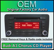 AUDI A3 LETTORE CD, AUDI CORO autoradio unità di testa con Radio Codice+CHIAVI