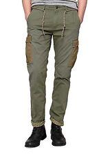 Unifarbene Herren-Cargohosen aus Baumwolle mit mittlerer Bundhöhe