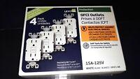 15 Amp 125-Volt Duplex Self-Test Slim GFCI Outlet, White (4-Pack