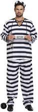 Black & White Prisoner Overall Costume - Halloween Fancy Dress Convict Adults