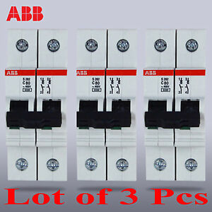 ABB S282-C80 Miniature circuit breaker 2 Pole genuine 2P 80A (Lot of 3 pcs)