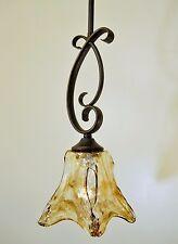 Amber Swirl Glass Bronze Patina Finish Vaxcel Lighting Mini Pendant Light