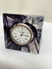 Caithness Blue Glass Pyramid Paperweight Clock Boxed