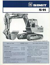Brochure SIMIT S 11 e SL11 Escavatore Cingolato 1977  Macchine da Cantiere