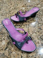 Indigo By Clarks Black Purple Leather Wedge Heel Strappy Sandals Womens Shoes 10