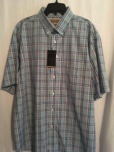 Roundtree Yorke Gold Label Men SS Shirt Cotton Sz XL Green Blue Plaid NWT
