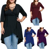 Plus Size Lady Women's Top Shirt Lace Up High Low Hem Tops XL 2XL 3XL 4XL 5XL
