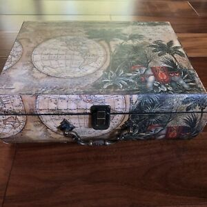 VTG Wooden Palm Elephant Map Globe Decorative Box Felt Lined Chest Trunk 11.5x9