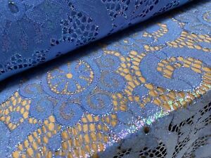Pearlescent Shimmer Lace Fabric, Per Metre - Floral Swirl Design - Blue