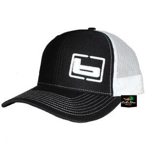 "NEW BANDED GEAR TRUCKER CAP HAT BLACK WHITE W/ ""b"" SIDE LOGO ADJUSTABLE"