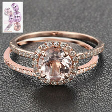 Wedding 2 Ring Set 7mm Round Cut Morganite Engagement Diamond Ring 14K Rose Gold