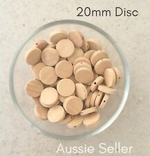 50x Natural Flat Wood Disc beads 20mm unfinished raw baby teething jewellery DIY
