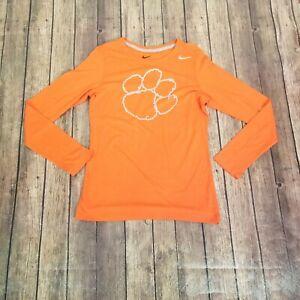 Nike Womens Clemson Orange Crew Neck Long Sleeves Slim Fit Active Top Size L