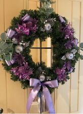 Christmas Door Wreath Luxury Artificial Purple Silver Poinsettia Apples 50cm