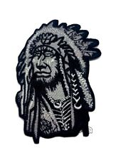 Native Indian chief retro Wolf embroidered patch iron/sew badge Biker Goth