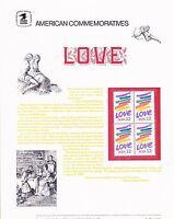 USPS Commemorative Panel 241 Love #2143 Block/4 Mint
