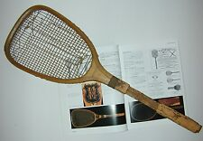 R. Bliss Flat Top Cork Handle Antique Tennis Racquet c1885 - was Jeanne Cherry's