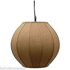 "Hanging Light 17"" Pendant Lamp with Tan Burlap Fabric Shade Cover New C-679-BP01"