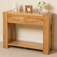 Solid Oak Wood 2 Drawer Console Table Unit Living Room Furniture Whg1#349