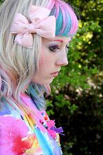 Luz Rosa Acolchado Arco Pelo Clip-Emo escena Goth Lolita Kawaii