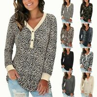 Women's Leopard V-Neck Loose Tops Lady Casual Buttons Long Sleeve T-Shirts Tee