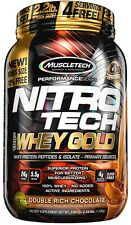 MuscleTech NitroTech Whey Gold 100% Protein Powder Double Rich Chocolate 2.2 lbs