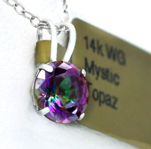 MYSTIC TOPAZ  1.12 Cts  PENDANT  14K WHITE GOLD *New With Tag *FREE CHAIN*