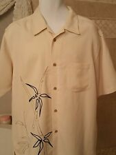 Cubavera Men's Shirt 70% Rayon 30% Polyester Color Ivory Size L