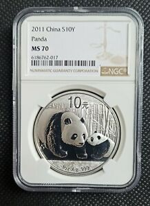 China 2011 Silver 10 Yuan Panda NGC MS70