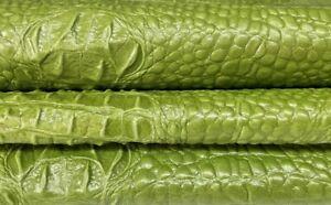 GREEN 3D ALLIGATOR CROCODILE textured Goatskin leather skins 5sqf 0.7mm #A7389