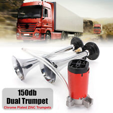 150DB 12V Dual Trumpet Super Loud Air Horn Compressor Kit Car Truck Boat Train