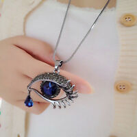 Chain Design Tear Drop Eye Shape Pendant Rhinestone Necklace Blue Crystal