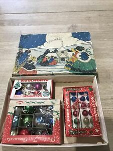 Vintage Glass Mini Baubles Concave Woolworths