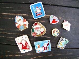 Christmas Pin badges 7 pcs Vintage Collectible USSR Santa New Year Xmas badge