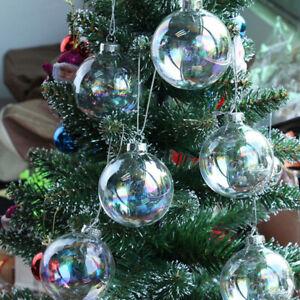 6/8/10cm Rainbow Balls Glass Christmas Tree Empty Baubles Fillable Hanging Decor