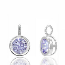 Sterling Silver Round Drop Pendant Charm with Lavender CZ #65488