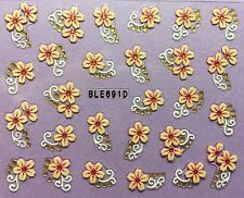 Nail Art 3D Decal Stickers Pretty Peach and Pink Flowers BLE691D