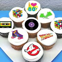 "Eighties 80's Pre-cut 2"" Edible Icing Cupcake Toppers - Sheet of 15"