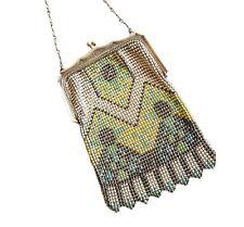 Whiting & Davis Art Deco Mesh Purse Antique Beadlite Flapper Purse 1920s