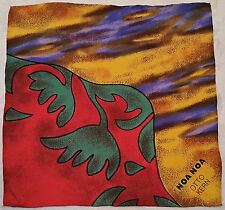 """VINTAGE NOA NOA OTTO KERN  ABSTRACT FLORAL RED YELLOW SILK 13""""SQUARE SMALL SCARF"""