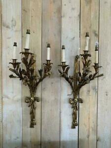 Early 19th Century Antique Bronze Gilt Wall Sconces