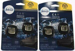 2 Count Febreze 2 Packs Car Vent Clip Air Freshener Platinum Ice Scented Black