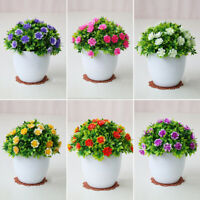 Artificial Fake Mini Bonsai Flowers In Vase Pot For Office Home Table Decoration