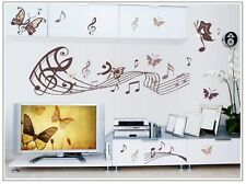 Butterfly Music Melody Notes Removable WALL Sticker Home Kids Girls Living Room