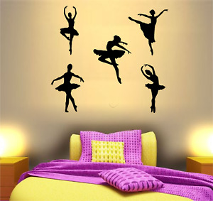 WALL ART STICKERS GIRLS BEDROOM DANCE DECAL DECOR  BALLERINA DANCER PACK 5 POSES