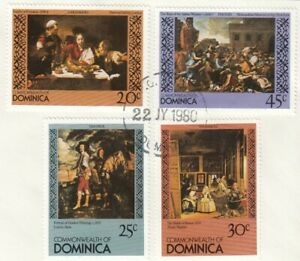 (85910) Dominica Used Art Paintings 1980 ON PIECE