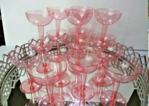 Cocktail Glasses Plastic Bar ware Lot 13 Pink Vintage Eclectic Party #N1