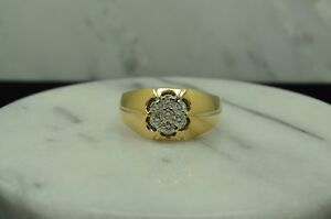 14K YELLOW GOLD DIAMOND CLUSTER RING BAND 0.70 TCW SIZE 12 #X14-1998
