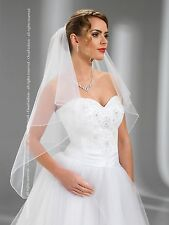 """New 2T White//Ivory Wedding Prom Bridal Fingertip Veil With Comb 40/""""-Pencil Edge"""
