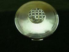 Stratton compact Mirror silvertone engine turned design with enamel pattern